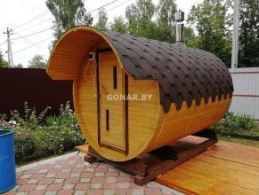 Баня-бочка «Gonar» 3.5 метра с козырьком (2 отделения)