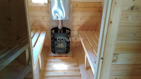 Баня-бочка «Gonar» 3.5 метра с козырьком