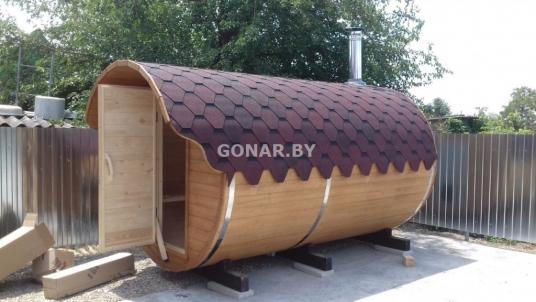 Баня-бочка «Gonar» 4.5 метра с козырьком