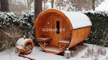 Баня-бочка «Gonar» 4 метра с крыльцом