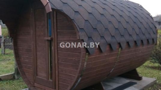 Баня-бочка «Gonar» 4 метра с козырьком