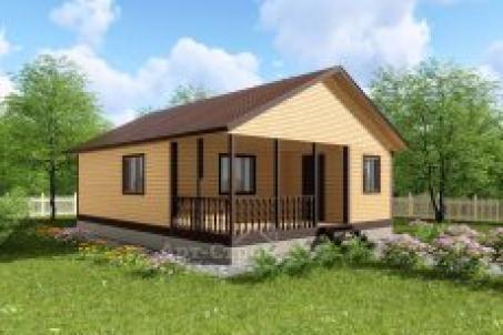 Одноэтажный дом 7 на 9 c террасой