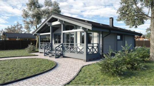 Проект одноэтажного дома 10х10 с тремя спальнями
