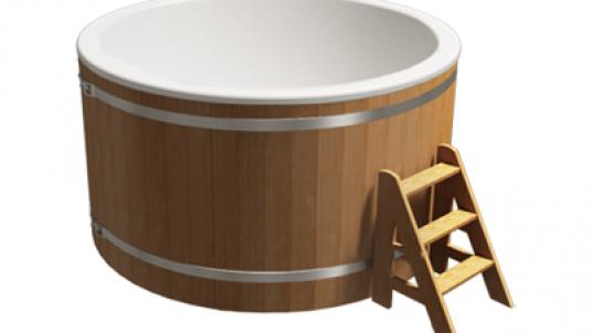 Купель композитная круглая «Классик» с печью 25квт термососна