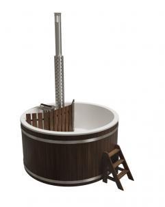 Купель композитная круглая «Премиум» с подогревом термоясень