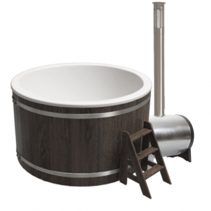 Купель композитная круглая для улицы «Классик» с печью 25квт термоясень