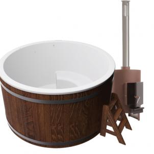 Купель композитная круглая для улицы «Премиум» с печью 45квт термососна