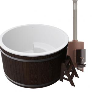 Купель композитная круглая для улицы «Премиум» с печью 45квт термоясень