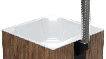 Купель композитная квадратная «Quattro hot» с печью термососна