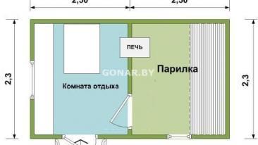Готовая баня 2.3 на 5м (две комнаты)